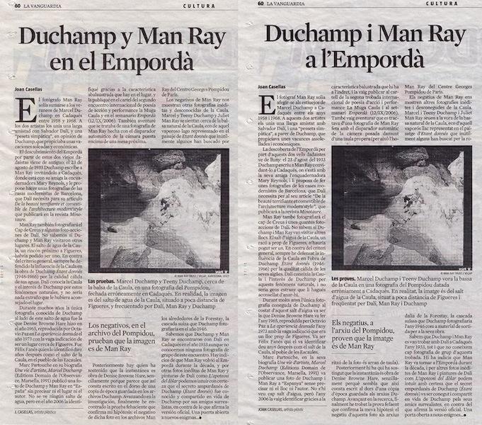 Recortes sobre la visita de Duchamp y Man Ray al Empordà