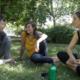 Amaia, Naike y Jaione, de Pikarrai, durante la entrevista