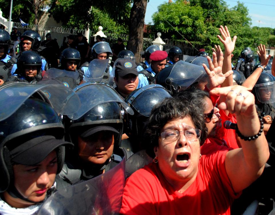 Imagen de la marcha del 25 de noviembre de 2017 en Nicaragua.